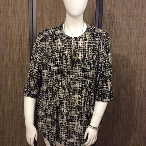 Avenue black and ivory blouse
